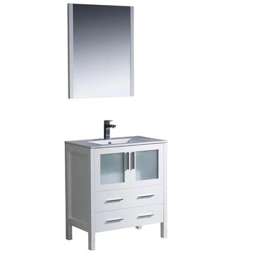 Fresca Torino 30-in White Single Sink Bathroom Vanity with White Ceramic Top (Mirror and Faucet Included) | FVN6230WH-UNS