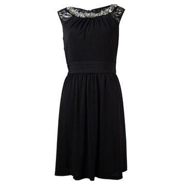 Ellen Tracy Women's Beaded Lace Pleated Waist Dress - Black