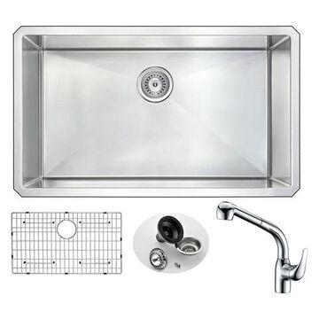 VANGUARD Undermount 32 in. Single Bowl Kitchen Sink,Harbour Faucet, Ch