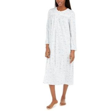 Miss Elaine Brushed Honeycomb Floral-Print Long Nightgown