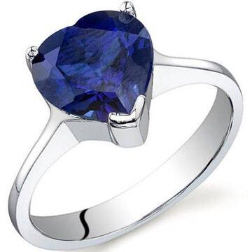 2.75 Carat T.G.W. Created Blue Sapphire Rhodium-Plated Sterling Silver Engagement Ring