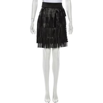 Fringe Trim Accent Mini Skirt w/ Tags Black