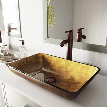 Vigo Rectangular Copper Glass Vessel Bathroom Sink