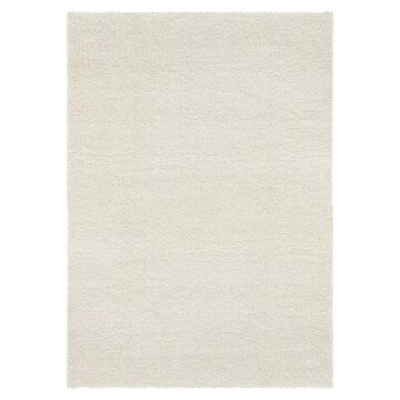 Unique Loom Solid Shag Collection Modern Plush Rug, White, 3X20 Ft
