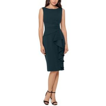 Betsy & Adam Cascading Ruffle Sheath Dress
