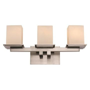 Trans Globe Downtown Square Triple Sconce, Brushed Nickel Glass, Cube