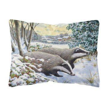Winter Badgers Fabric Decorative Pillow