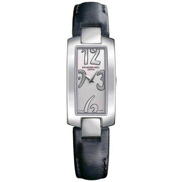 Raymond Weil Women's 1500-ST3-05303 'Shine' Black Leather Watch