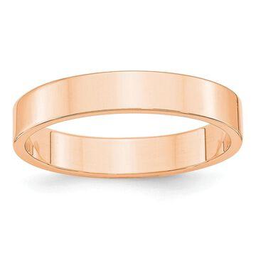 10K Rose Gold 4mm Polished Lightweight Flat Band Size 10 by Versil
