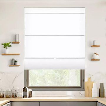 Chicology Cordless Magnetic Roman Shade, White, 33X64
