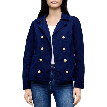 L'Agence Womens Allison Military Jacket Double-Breasted Denim - Navy