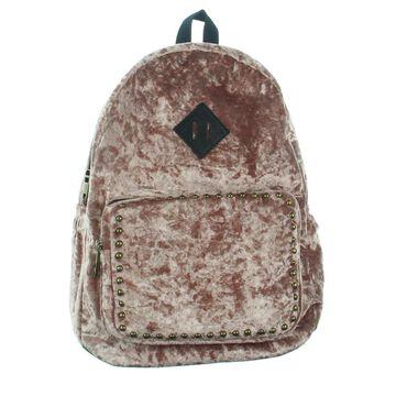Madden Girl Womens Crushed Velvet Studded Backpack