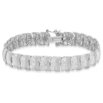 Finesque Sterling Silver 2 4/5 ct TDW Diamond Stripe Bracelet (Silver)