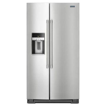 Maytag 20.6-cu ft Counter-depth Side-by-Side Refrigerator with Ice Maker (Fingerprint-Resistant Stainless Steel)