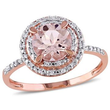 Modern Bride Gemstone Womens Genuines Pink Morganite 10K Gold Engagement Ring
