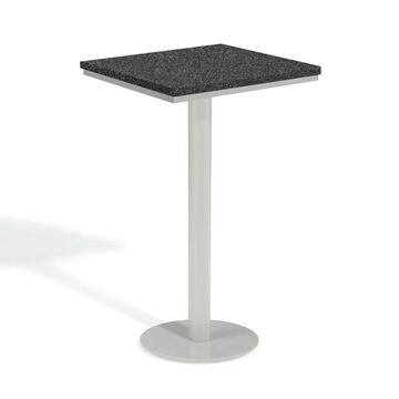 Oxford Garden Travira 24-inch Square Lite-Core Granite Charcoal Bar Table with Powder Coated Steel Frame