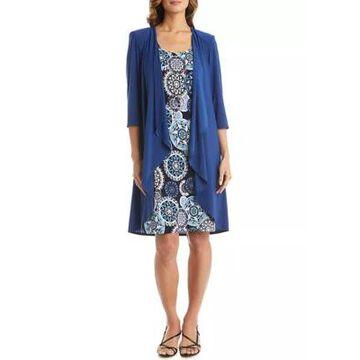 R & M Richards Women's Sleeveless Print Dress And Puff Shoulder Solid Jacket - 2 Piece Set -