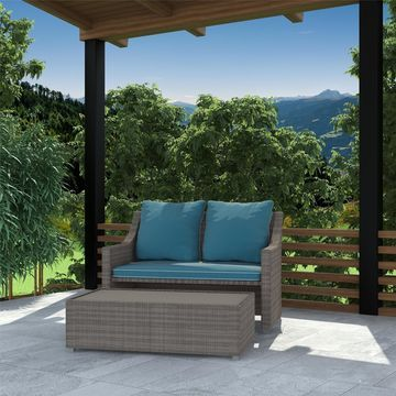 COSCO Outdoor Bluffs Grey 2-piece Patio Loveseat and Ottoman Set