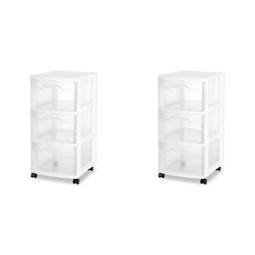 Case of 2 Sterilite 3 Drawer Rolling Carts - 12.63