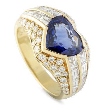 Bvlgari Yellow Gold Diamond and Heart Cut Sapphire Band Ring