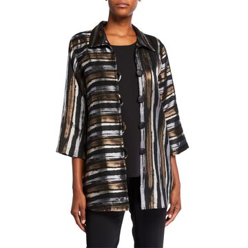 Plus Size Tonal Striped Jacquard Shirt Jacket