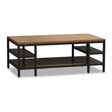 Baxton Studio Caribou Wood and Metal Coffee Table in Oak/Antique Black