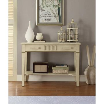 ACME Siskou Console Table in Antique White (MDF)