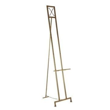 Decmode Traditional Brass-Finished Iron Easel, Brass