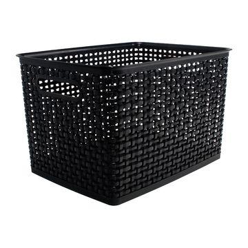 Weave Design Plastic Bin Large-Black