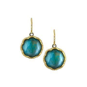 Old World Triplet Drop Earrings w/ Diamonds, Opal