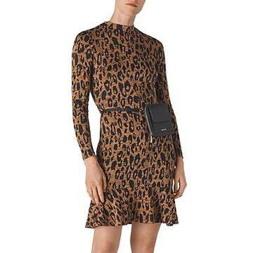 Whistles Animal-Jersey-Printed Flounce Dress