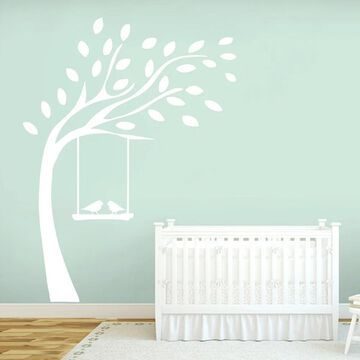 Tree with Birds On Swing Wall Decal 60 inches wide x 84-inch Tall