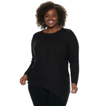 Plus Size Dana Buchman Lurex Asymmetrical Hem Sweater