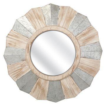 Imax Steffi Brown Iron/Wood/Glass Round Wall Mirror