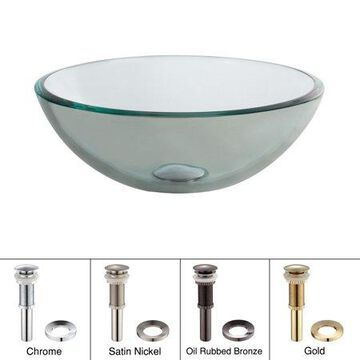 KRAUS 14 Inch Glass Vessel Sink in Clear with Pop-Up Drain and Mounting Ring in Satin Nickel