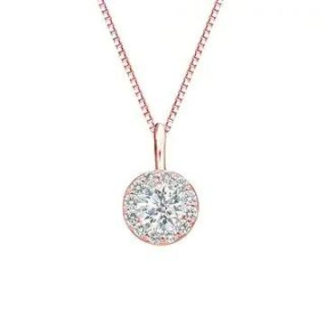 Auriya 1/2ctw Round Halo Diamond Necklace 14k Gold (Rose)