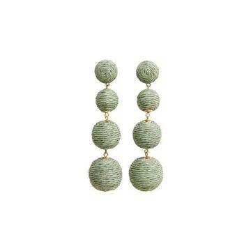 Violeta BY MANGO - Wood pendant earrings green - One size - Plus sizes