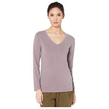 Majestic Filatures Hand Dyed Long Sleeve V-Neck Tee (Bruyere HD) Women's T Shirt