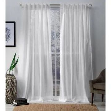 ATI Home Bella Sheer Hidden Tab Top Curtain Panel Pair (54x108 - White)