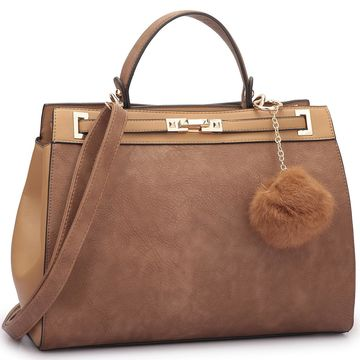 Dasein Satchel Handbag with Decorative PomPom