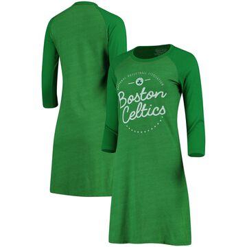 Women's Majestic Threads Kelly Green Boston Celtics Tri-Blend 3/4-Sleeve Raglan Dress