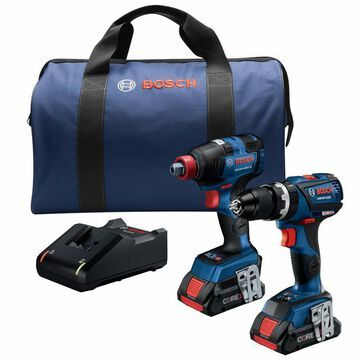 Bosch 2-Tool Core18v Brushless Power Tool Combo Kit with Soft Case with Free (Charger Included and 2-Batteries Included)