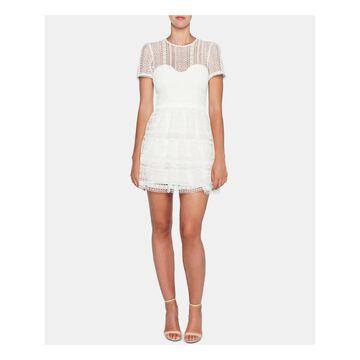 BARDOT White Short Sleeve Mini Dress 4/ XS - 4\ XS
