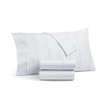 Martha Stewart Collection Printed Egyptian Cotton Percale 400 Thread Count 4 Pc. Sheet Set, Queen, Created for Macy's Bedding
