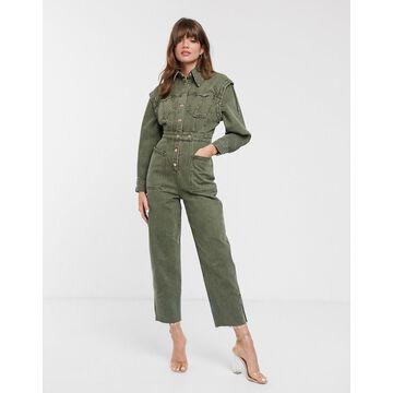 ASOS WHITE denim seam detail jumpsuit-Green