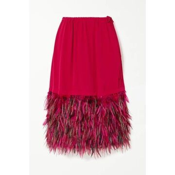 Dries Van Noten - Feather-trimmed Crepe Skirt - Fuchsia