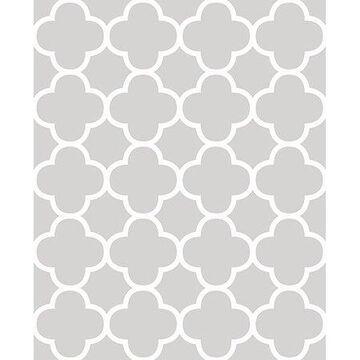 Brewster Origin Grey Quatrefoil Wallpaper