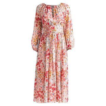 Shoshanna Taura Blouson-Sleeve Silk-Blend Dress