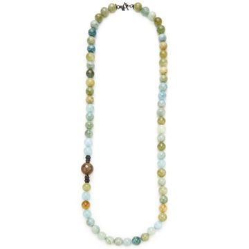 Armenta Aquamarine & Agate Large Bead Necklace