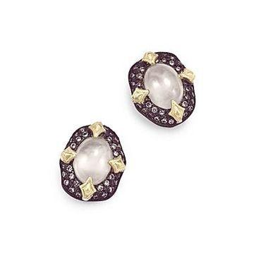 Armenta 18K Yellow Gold & Blackened Sterling Silver Old World Aquaprase & Champagne Diamond Bezel Stud Earrings